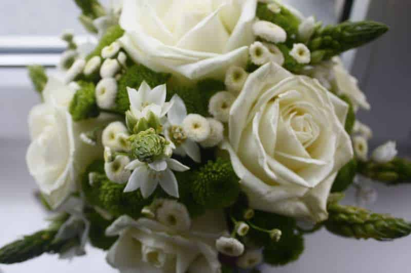 A bouquet of white wedding flowers