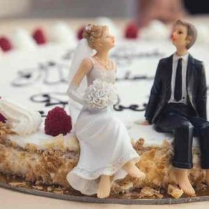 Wedding speech edit symbolised by Wedding cake bride and groom - models on the cake