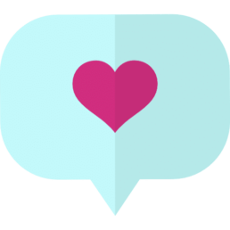Icon of speech bubble containing a pink heart