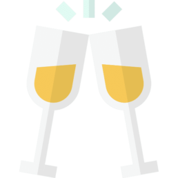 Icons of two glasses of white wine being chinked together